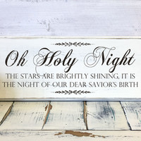 Christmas Home Decor, Oh Holy Night Stars Are Brightly Shining, Wood Sign, Vintage, Shabby Chic Christmas Decor, Decorations, Holidays Decor