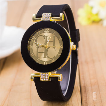 Gold Geneva Sport Quartz Watch for Women