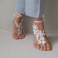 wedding shoes,summer shoes,barefoot sandals,bridal accessories, white lace,wedding sandals, shoes,free shipping! bridal sandals bridesmaids,