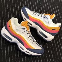 NIKE AIR MAX 95 Rainbow Color Trending Women Men Sneaker Shoes B-CSXY Blue B-CQ-YDX Orange/yellow line