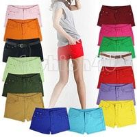 Womens Casual Candy Colours Shorts mini Short Jeans low waisted Summer pants