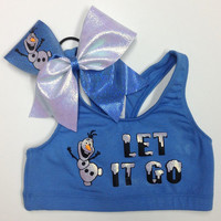 "FROZEN, Olaf, ""Let it Go"" sports bra and matching bow combo or Sports bra or bow only"