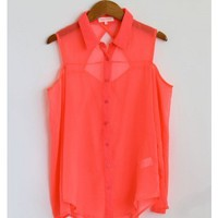 Cut Out Sheer Blouse