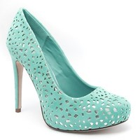 Styluxe Womens LAM Closed Round Toe Cut Out Perforated High Heel Hidden Platform Stiletto Pump Shoes