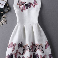 Stunning Jewel Neck Sleeveless Butterfly Print Pleated  Dress