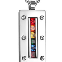 Jewelry Stainless Steel Gay  LGBT Pride Pendant Rainbow Cubic Shaped Necklace,Silver,35mm