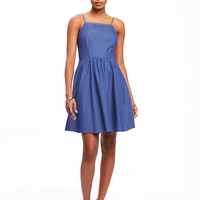 Fit & Flare High-Neck Chambray Dress | Old Navy