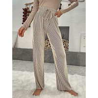 Striped Tie Front Straight Leg Pants