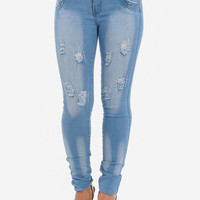 Butt Lifting Distressed Denim Skinny Jeans with Rhinestones