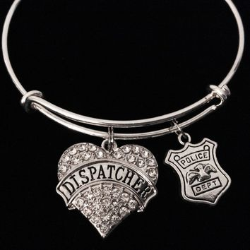 Police Dispatcher Expandable Silver Charm Bracelet Adjustable Bracelet Wire Bangle Police Badge Jewelry Trendy