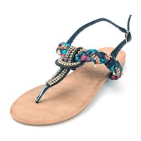 Dressy Sandals Rhinestones Braided Satin Scarf Straps Thongs Flats Ankle Buckle