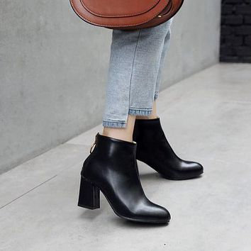 Round Toe Pu Leather Women's High Heeled Ankle Boots