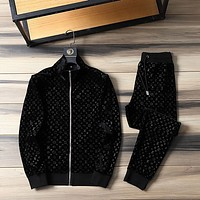 LV Louis Vuitton new color matching letter printing sports suit two-piece 062239