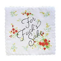 For Fuck's Sake Retro Floral Print Cotton Handkerchief