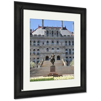 Framed Print, New York State Capitol In Albany USA Architecture Landmark View Building