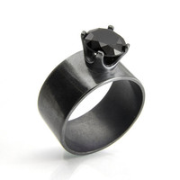 Black Spinel Ring with a Wide Silver Band, Statement Ring in Silver and Black Spinel, Blackened Silver Ring