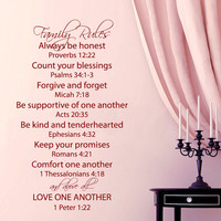 Family Rules Wall Decal Quote Love One Another Bible Verses Vinyl Stickers Psalms Bedroom Art Mural Living Room Decor Design Interior KY69