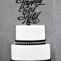 Happily Ever After Wedding Cake Topper in your Choice of Color, Modern Wedding Cake Topper, Unique Wedding Cake Topper