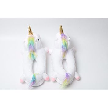 Winter lovely Home flock latex solid indoor plush unicorn slippers house mules platform flip flops shoes pink purple white