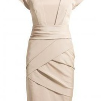 Duchess Inspiration Bandage Wrap Shift Dress in Champagne    Sincerely Sweet Boutique