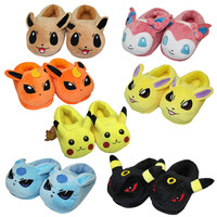Cartoon plush toys Pikachu Eevee plush shoes Cute indoor fluffy slippers soft stuffed