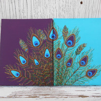 Hand Painted Feather Art, Original Peacock Feather Painting, Multi Piece Wall Art, Purple and Teal Decor, Peacock Decor Colorful Peacock Art