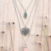 Hamsa, Heart, Pink Rose Quartz Crystal Point Pendant on Multiple Layer Necklace, Good Vibe Necklace, Positive Energy Necklace, Gift for Mom
