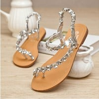 Czech Rhinestone Thongs Sandals