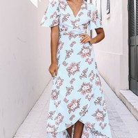 Perfect Places Sky Blue Floral Wrap Dress