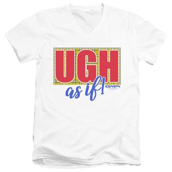 Clueless Slim Fit V-Neck T-Shirt Ugh As If White Tee