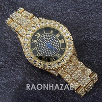 Raonhazae Hip Hop Iced Lab Diamond 14K Gold Plated Black Face Watch with Stone