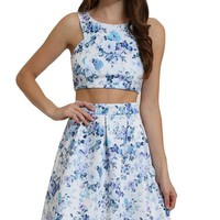 Women's Two Piece Floral Top and Midi Skirt Set Co-ordinate