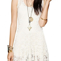 White Sleeveless Rose Lace Mini Dress