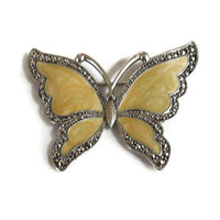 Yellow Swirl Poured Enamel Butterfly Brooch Vintage with Faux Marcasites