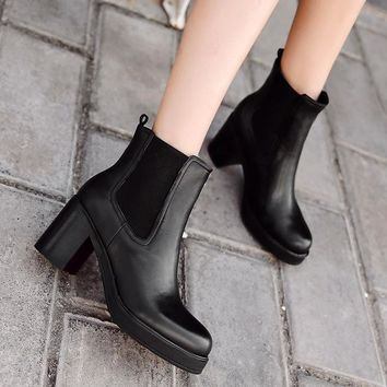 women genuine leather natural wool fur insole platform high heels Chelsea ankle boots
