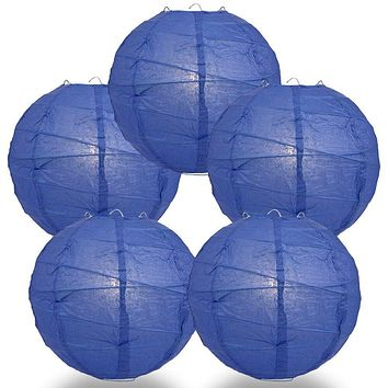 "BULK PACK (5) 10"" Dark Blue Round Paper Lantern, Crisscross Ribbing, Chinese Hanging Wedding & Party Decoration"