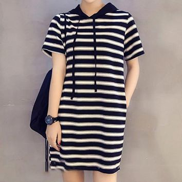 Women Sport Casual Fashion Multicolor Stripe Short Sleeve Hooded Dress