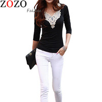 Women's Fashion Hollow Lace Collar Slim Casual Long Sleeve Shirt Sexy V-Neck Embroidered Tops