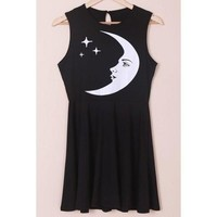 Stylish Sleeveless Round Neck Moon and Star Print Women's Dress - Black S