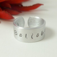 "Ring, Justin Bieber,  Hand Stamped"" Belieber ""Personalized Rings, adjustable rings, Names stamped, customized rings"
