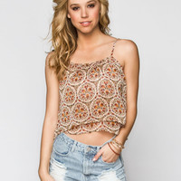 PATRONS OF PEACE Floral Print Womens Crop Top   Tops