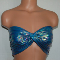 Bikini top, Twisted Metallic Wet Look bikini top, Bandeau, Swimsuit top, Active wear.