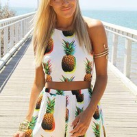 Fashion Pineapple Print Halter Sleeveless Backless Crop Tops Vest Shorts Casual Set Two-Piece