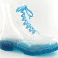 Spot On Transparent Jelly Lace Up Boot