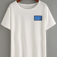 Graphic Print Drop Shoulder T-shirt - White