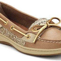 Sperry Top-Sider Angelfish Slip-On Boat Shoe Linen/GoldGlitter, Size 6M  Women's Shoes