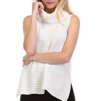 Boxy Sleeveless Cowlneck Sweater in Ivory