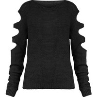 Womens Oversized Jumper Ladies Knitted Cut Out Fine Knit Baggy Sweater Top 8-14