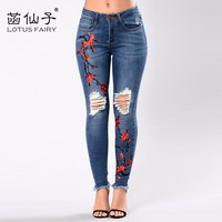 Embroidery high waist woman jeans skinny Vintage Ripped freddy pants Stretch pencil female bottom Elastic Denim trousers mujer