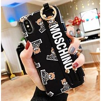 Moschino New fashion more letter bear print protective cover phone case Black